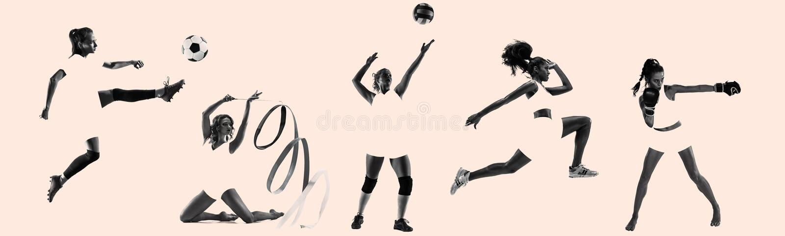 Young female sportswomen, creative collage stock image