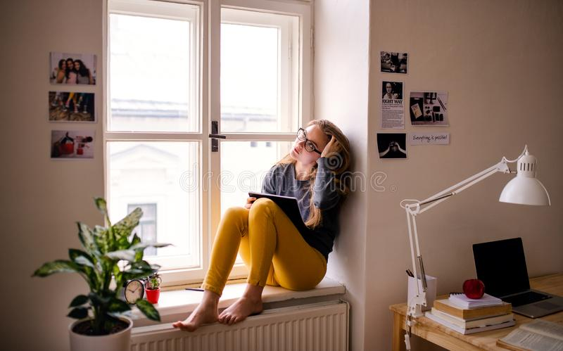 A young female student with an exercise book sitting on window sill, studying. A young happy college female student with an exercise book sitting on window sill stock image