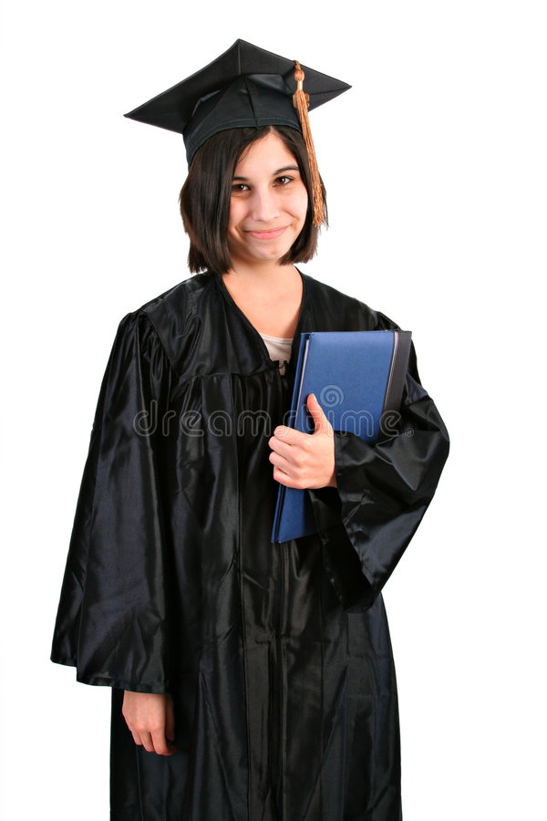 Young Female Student with Graduation Robe and Hat