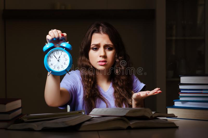 The young female student preparing for exams late at home. Young female student preparing for exams late at home royalty free stock photo