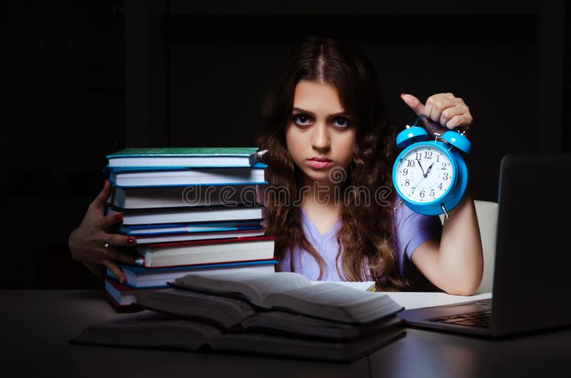 The young female student preparing for exams late at home. Young female student preparing for exams late at home royalty free stock images