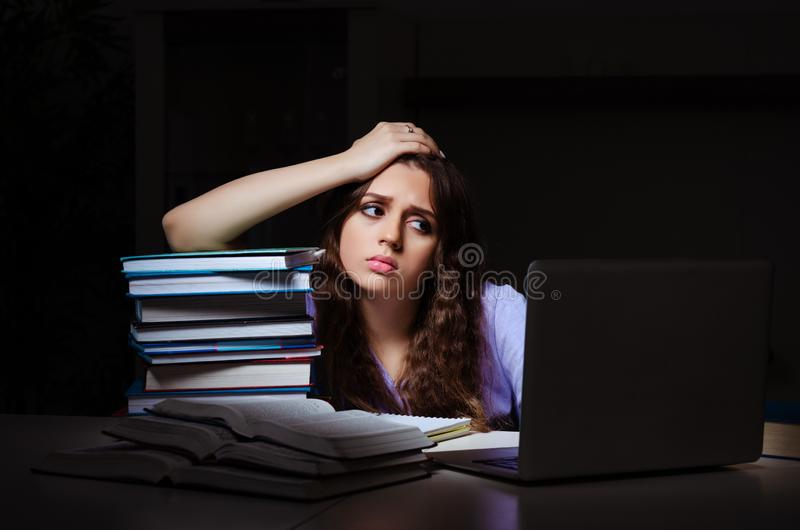 The young female student preparing for exams late at home. Young female student preparing for exams late at home royalty free stock image