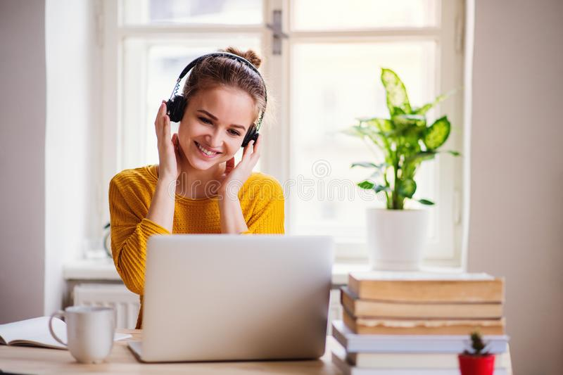 A young female student sitting at the table, using laptop when studying. royalty free stock images