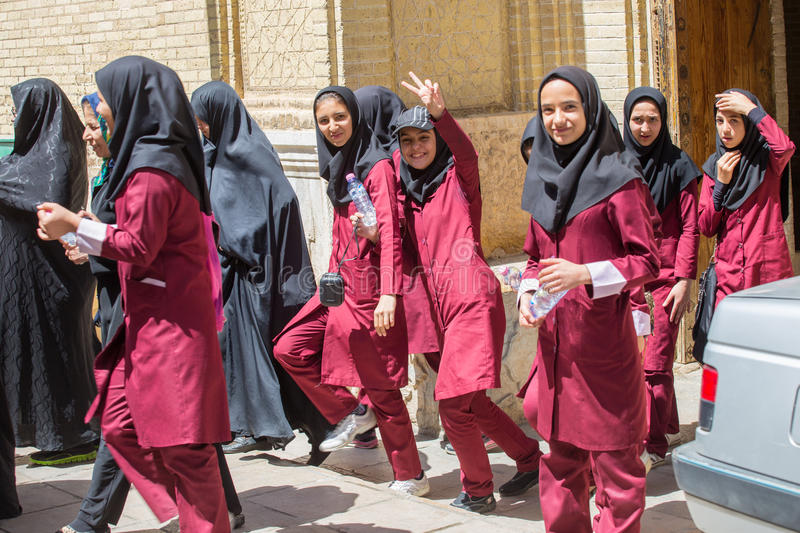 Young female students in Shiraz, Iran stock image
