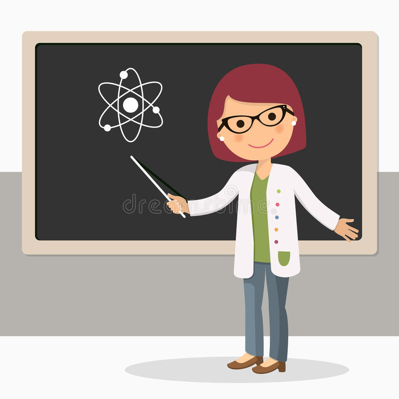 Young female teacher on science lesson at blackboard in classroom. Teacher with pointer, teacher showing on board. Vector illustration stock illustration