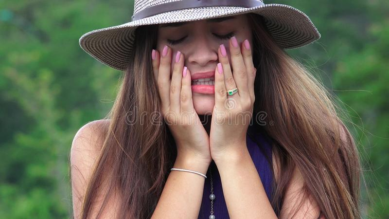 Crying Teen Girl Lonely And Depressed royalty free stock image
