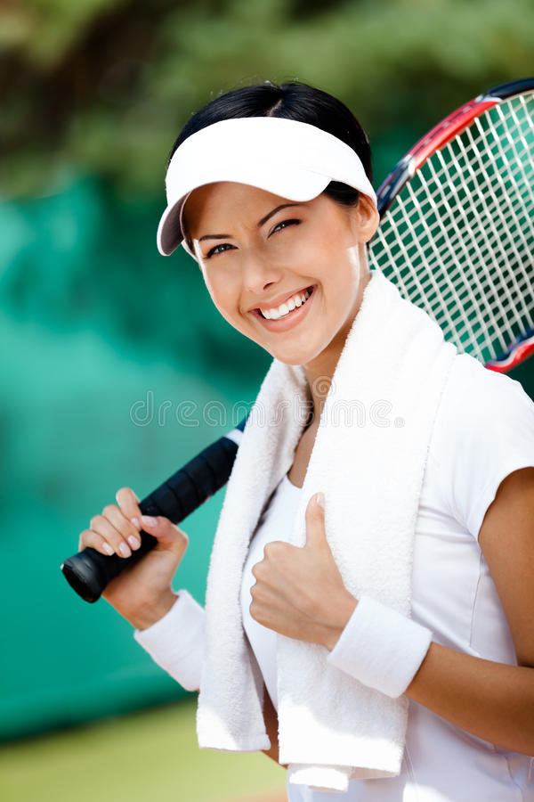 Download Young Female Tennis Player With Towel Royalty Free Stock Images - Image: 27366029