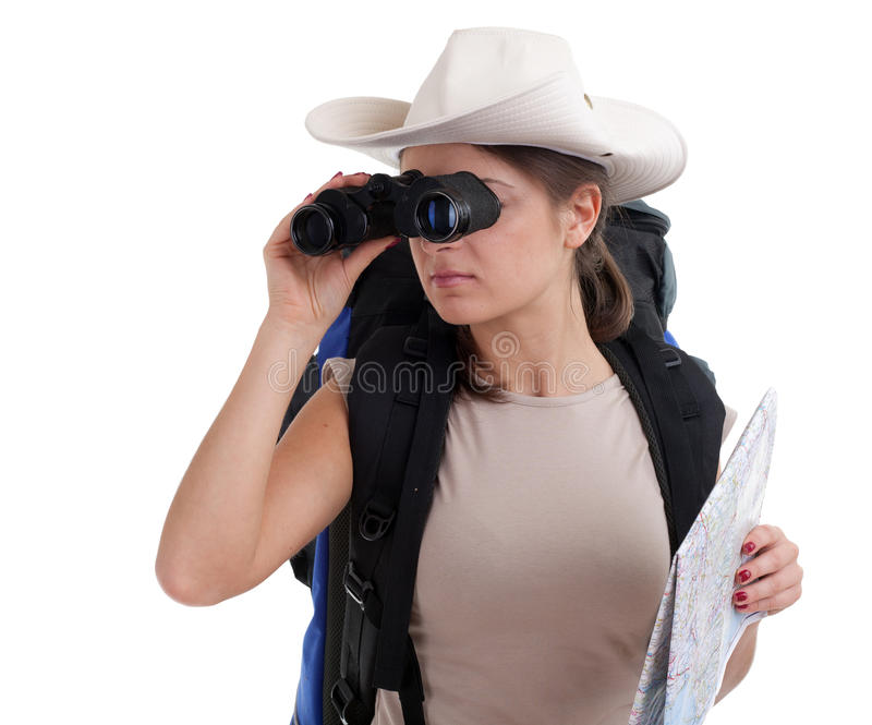 Download Young Female Tourist With Binoculars Stock Image - Image of isolated, backpack: 15110001