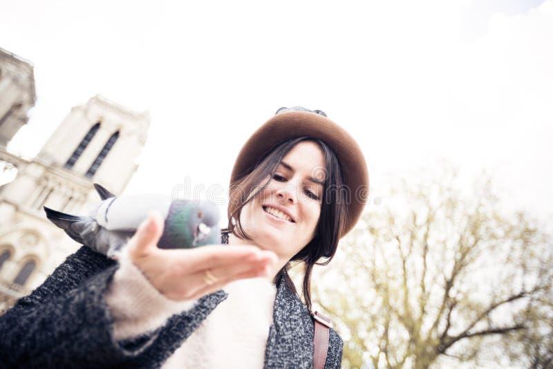 Young Female Tourist Enjoying Her Trip To Paris stock photos