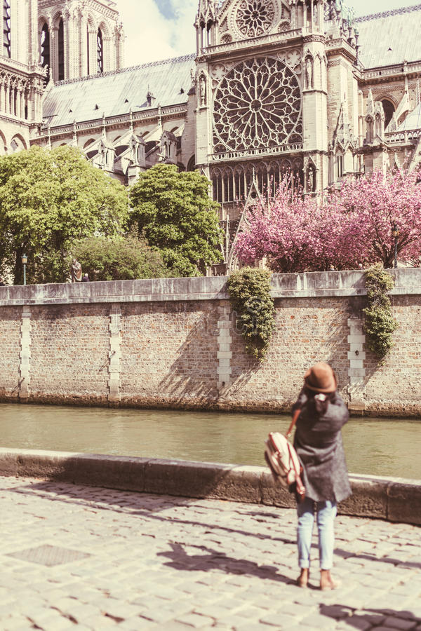 Young Female Tourist Enjoying Her Trip To Paris stock image