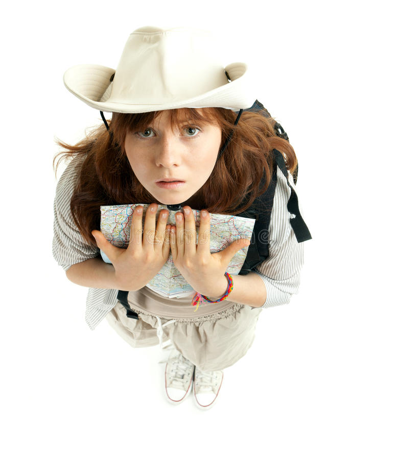 Young Female Tourist Keeping Map Stock Image