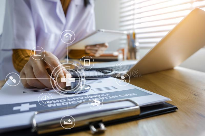 Medical Technology Concepts The doctor is working. royalty free stock photo