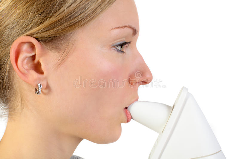 Download Young Female Using An Inhalator Stock Photo - Image: 9458488