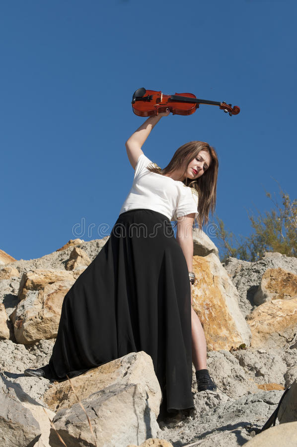 Young female violinist royalty free stock photos