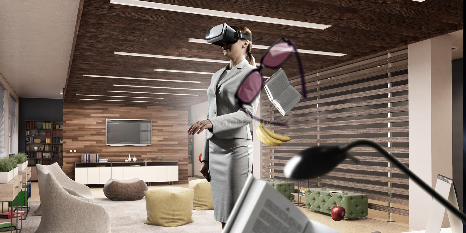 Young female in virtual reality royalty free stock images