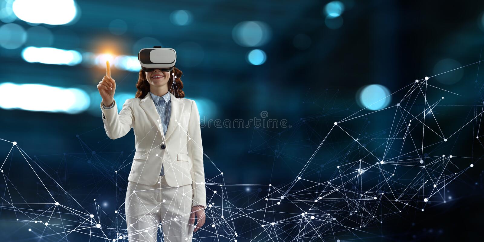 Young female in virtual reality royalty free stock photos