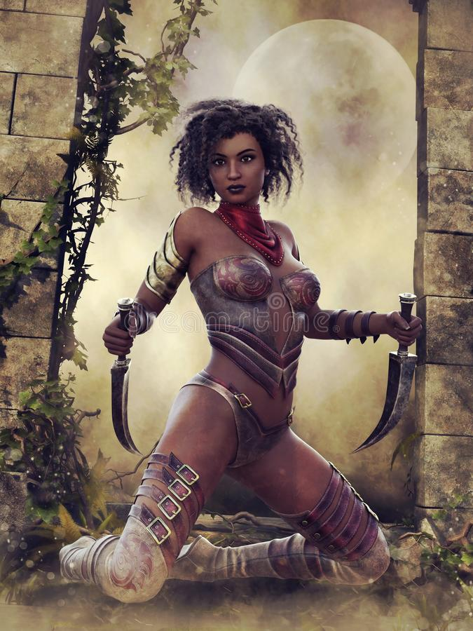 Young warrior in a jungle. Young female warrior with daggers kneeling in the ruins of an old building in a jungle stock illustration