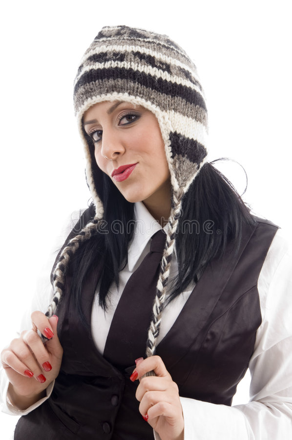 Young Female Wearing Woolen Cap Stock Image