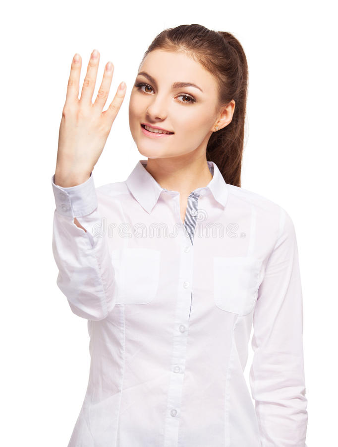 Young female at white background stock image