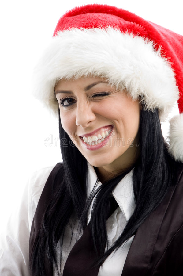 Download Young Female Winking Eyes And Wearing Stock Photo - Image of female, jingle: 7362642