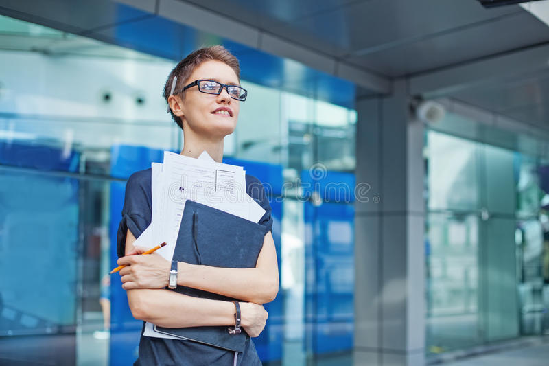 Young female worker stock photo