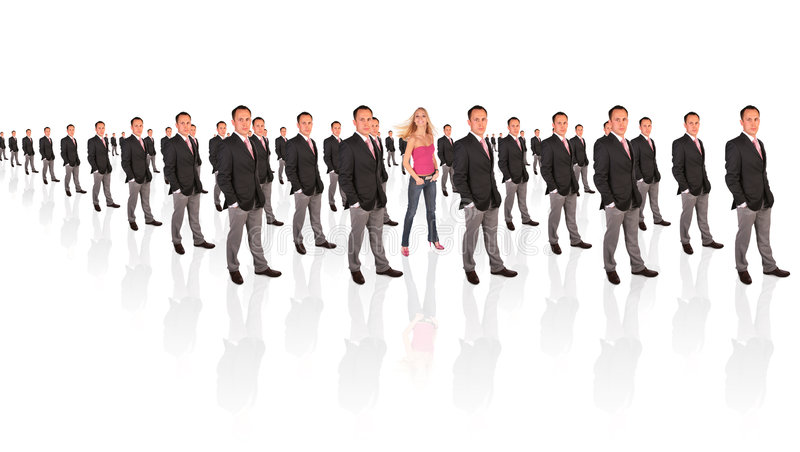 Young feminist woman and businessman formation. Collage stock image