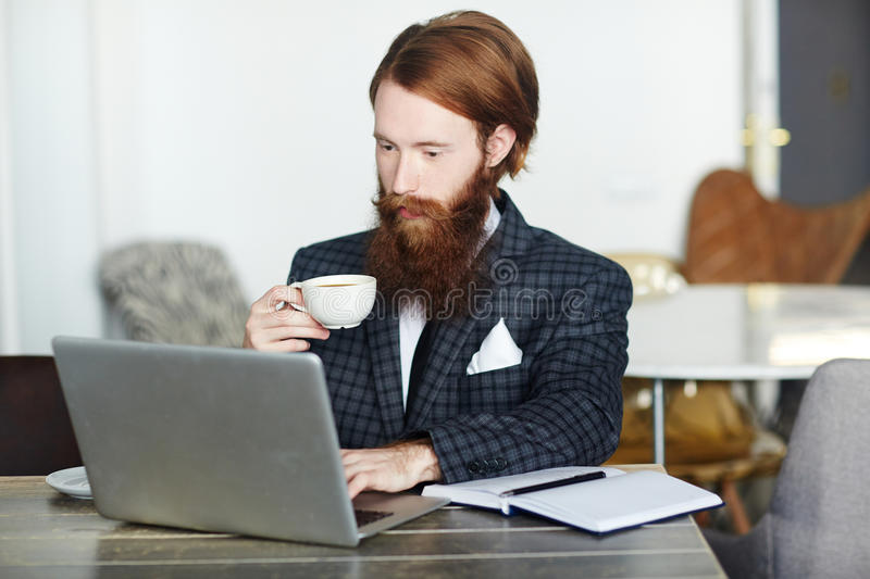 Young financier. Confident business leader in elegant suit sitting in front of laptop and having tea in cafe stock images
