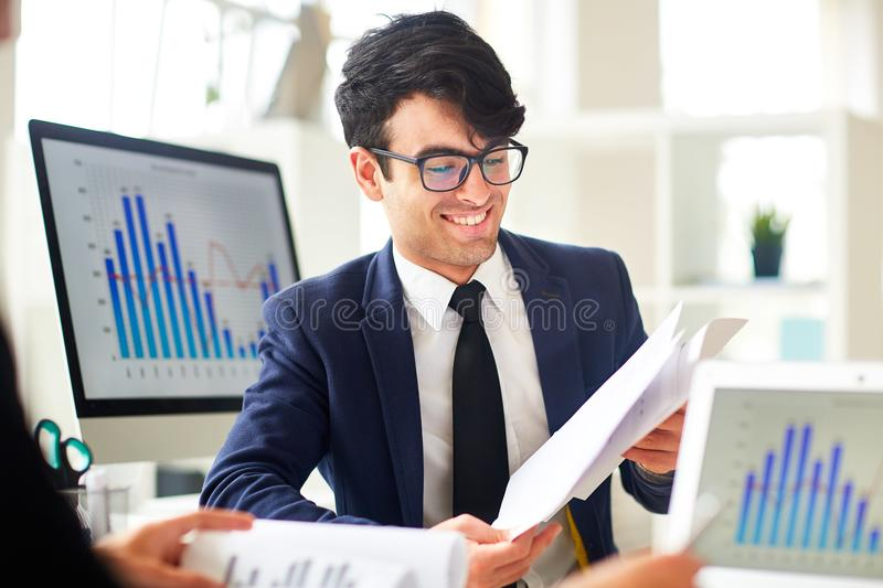 Man with papers royalty free stock photos