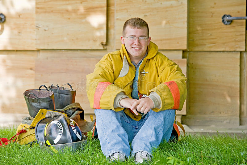 Young Fireman stock photo