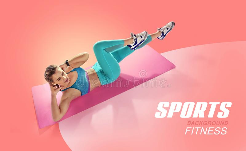 Young fit female doing abdominal press twisting. Isolated fitness Athlete. royalty free stock photo