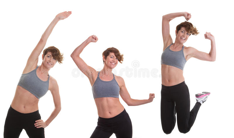Young fit healthy woman exercising stock photography