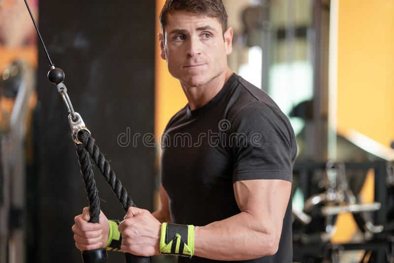 Young fit muscular man close up doing triceps pull down rope extension exercise in modern fitness center. stock images