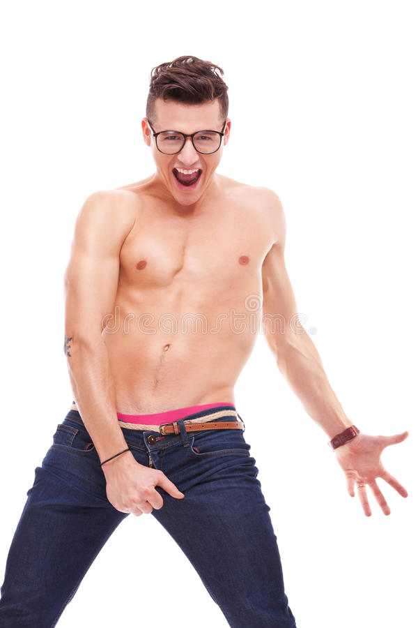 Young fit shirtless man wearing glasses royalty free stock photography
