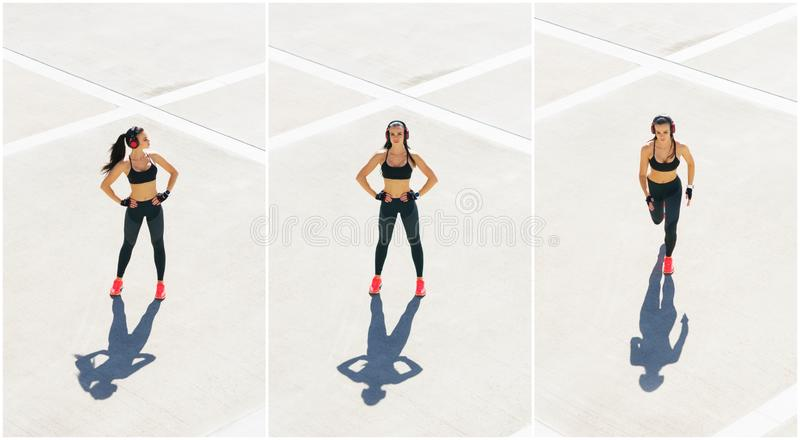 Young, fit and sporty woman doing sports at the stret. Fitness, sport, urban jogging and healthy lifestyle concept. Young, fit and sporty girl doing sports at stock photo