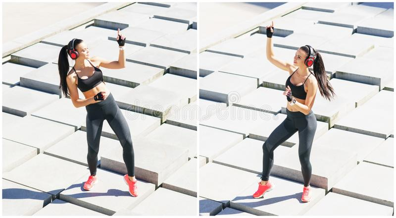 Young, fit and sporty woman doing sports at the stret. Fitness, sport, urban jogging and healthy lifestyle concept. Young, fit and sporty girl doing sports at royalty free stock photo