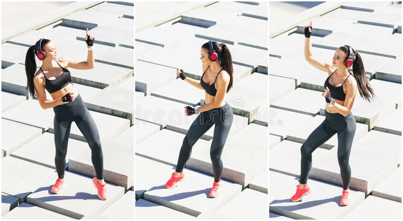 Young, fit and sporty woman doing sports at the stret. Fitness, sport, urban jogging and healthy lifestyle concept. Young, fit and sporty girl doing sports at royalty free stock images