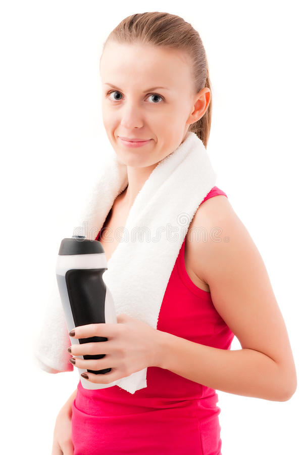 Download Young fit woman with towel stock image. Image of beauty - 12633023
