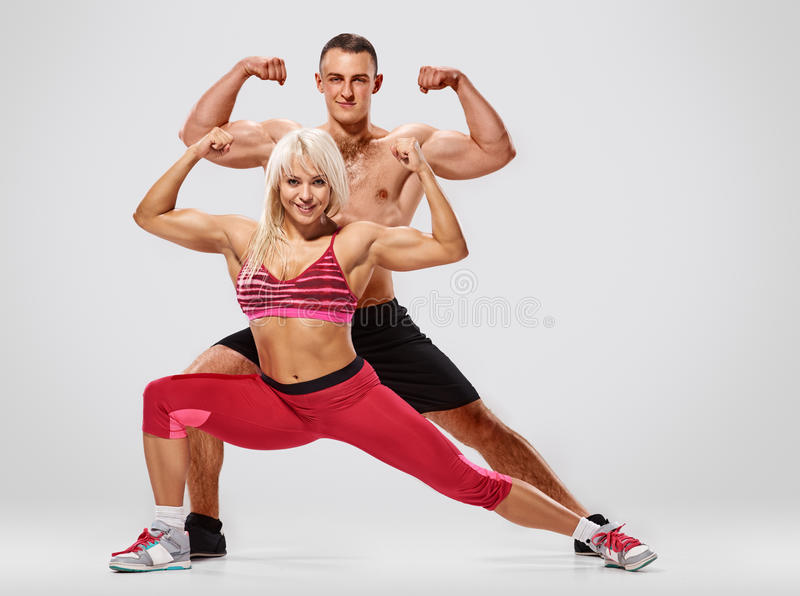 Young fitness couple royalty free stock image