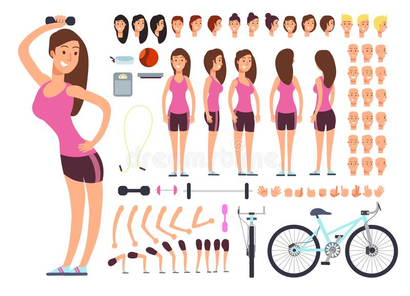 Young fitness female, sportswoman. Vector creation constuctor with big set of woman body parts and sport equipment. Woman character body and sport constructor stock illustration