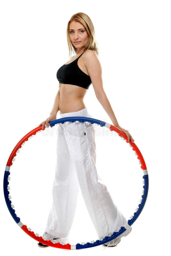 Download Young Fitness Woman With Hula Hoop Isolated Stock Image - Image: 30894939