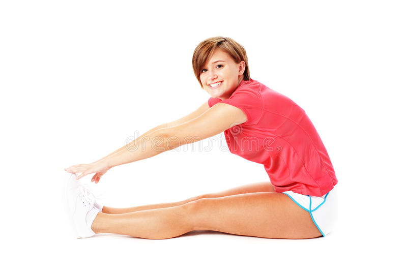 Download Young Fitness Woman In Red Shirt Stretching, Isola Stock Photo - Image: 11183732