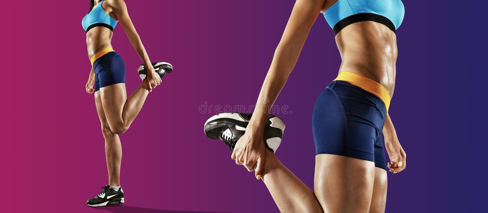 Young fitness woman stretching legs. Isolated stock photo