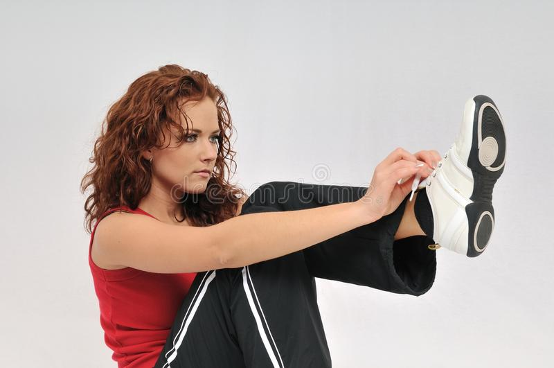 Download Young Fitness Woman Ties Lace On Her Shoe Stock Image - Image: 11354481