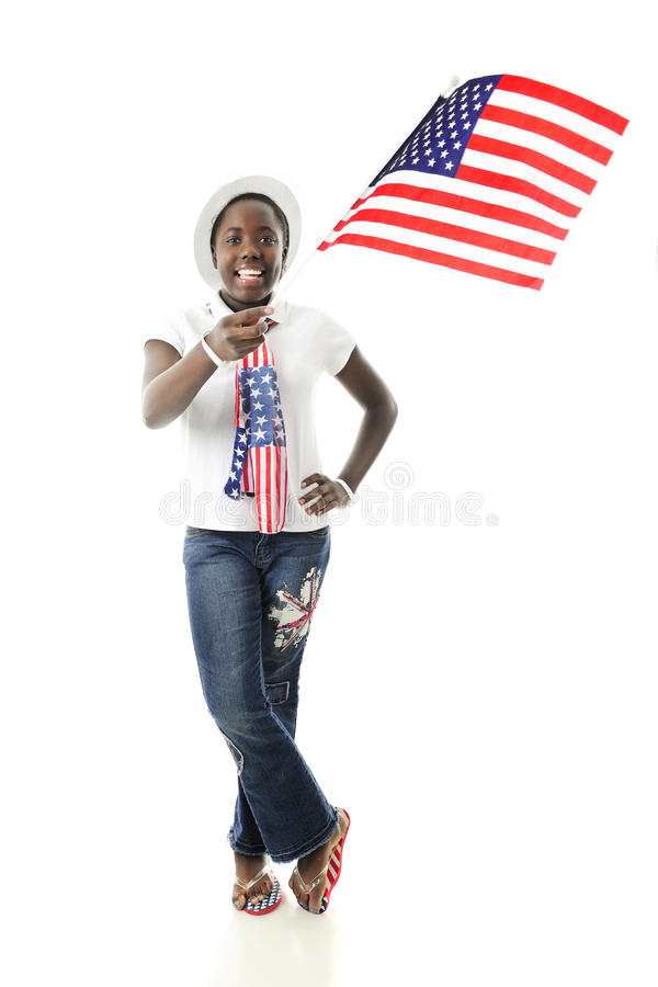 Young Flag-Waving Patriot royalty free stock photography