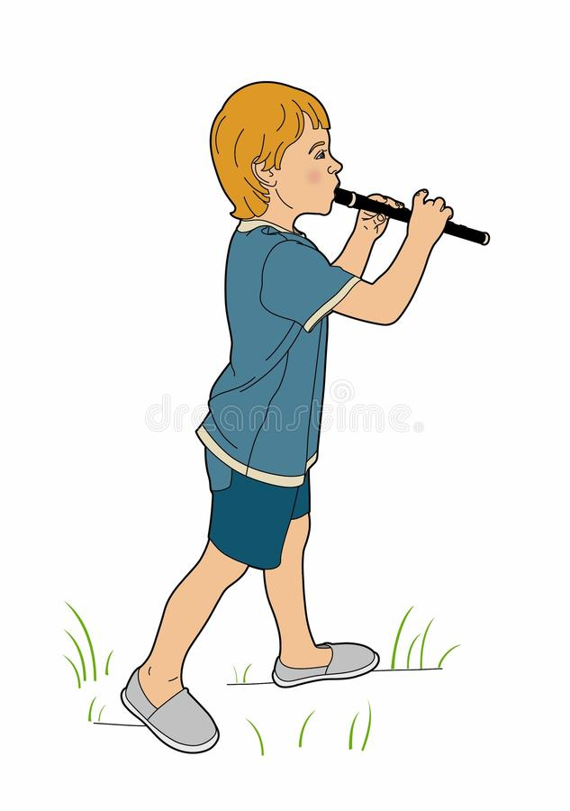 Young flutist. Vector illustration of a young musician, EPS 8 file vector illustration