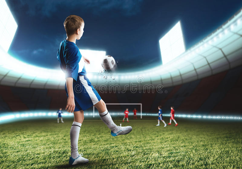 Young football champion royalty free stock image