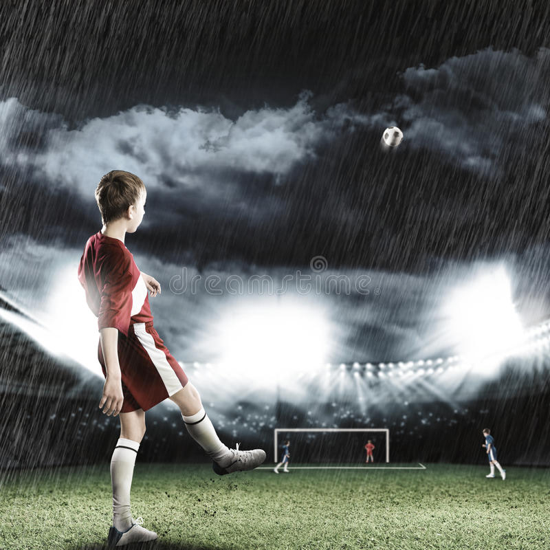 Young football champion royalty free stock images