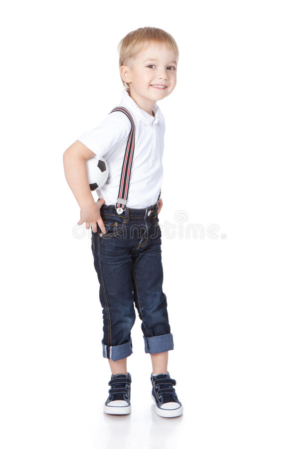 Download Young Football Player With Ball Over White Stock Photo - Image: 21728842