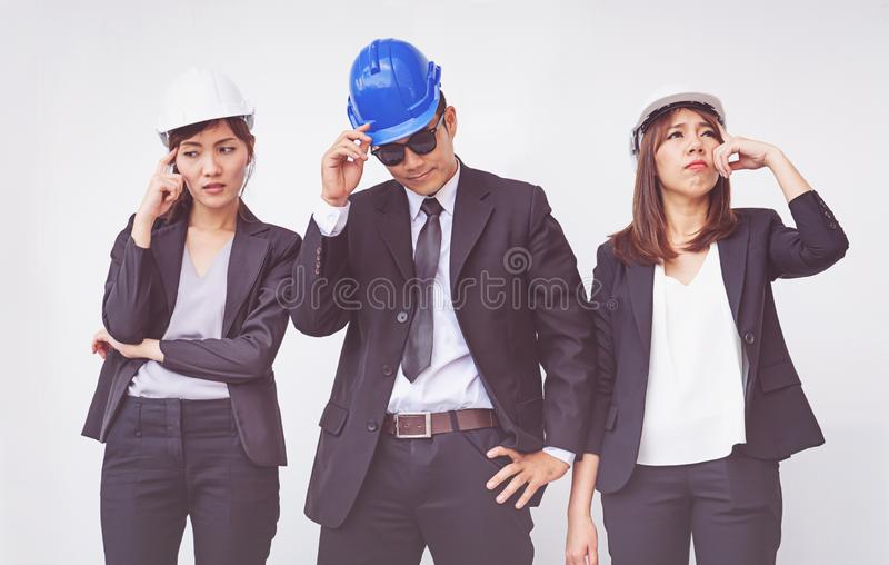 Young foreman thinking of plan, concept business royalty free stock photo