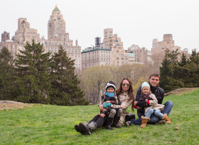 Young of four in Central Park during their stock image